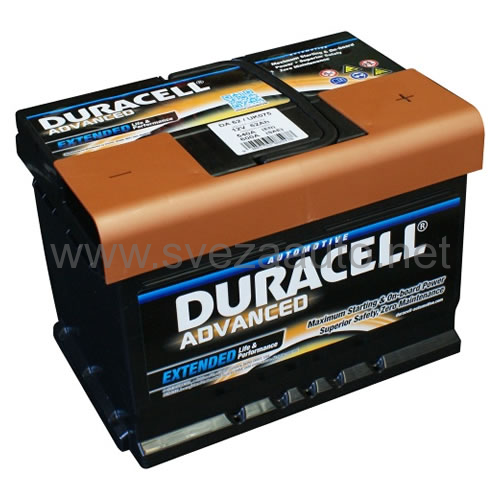 Duracell 12V 62Ah D+ Akumulator DA 62 Advanced